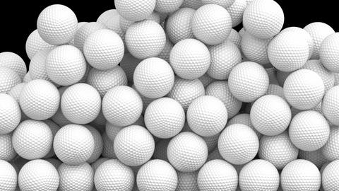 3D animation of golf balls filling the screen, alpha mask is included Animation