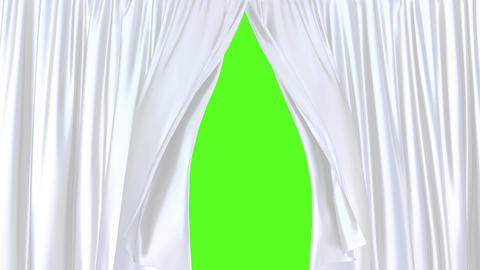 Silky white window curtains against the green screen 3D animation Animación