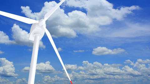3D animation of the wind turbine against blue cloudy sky Animation