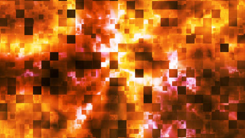 Twinkling Abstract Hi-Tech Fire Patterns, Golden Orange, Loopable, 4K CG動画素材