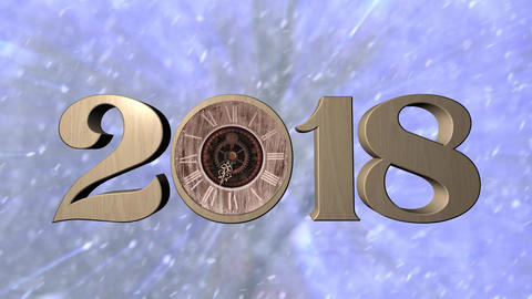 2018 with clock Animation