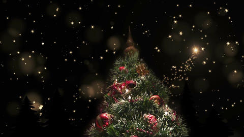 Decorated shining Christmas tree, magical starry night Animation
