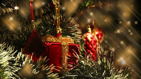 Close up of decorated Christmas tree at night,... Stock Video Footage
