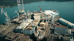 PULA, CROATIA - AUGUST 4, 2017. Aerial view of a JDN ship being built at the Image