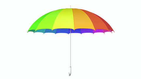 Colorful umbrella seamless looping 3D animation with alpha matte Animation