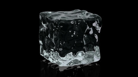 Realistic 3D animation of the ice cube on black Animation