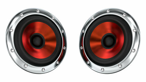 Red loudspeakers looping 3D animation with alpha mask Animation