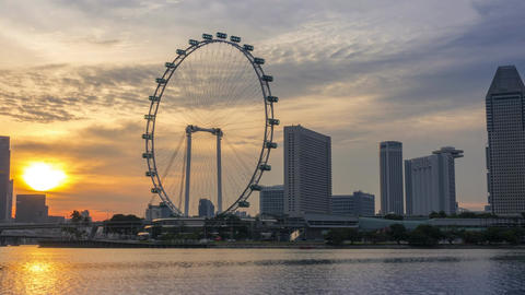 Panorama of the Sunset in Singapore. Time Lapse Archivo