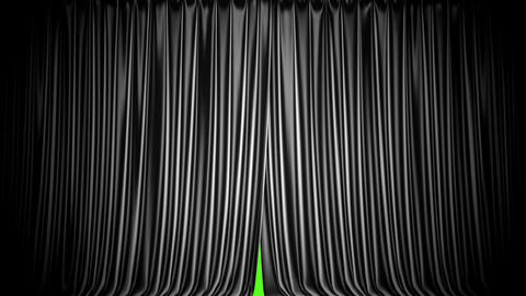 3D animation of the black curtain against green screen Animación