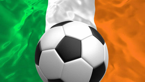 3D looping animation of the soccer ball rotating against the flag of Ireland Animation