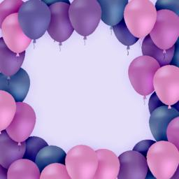 Colored balloons on purple background Vector Vector
