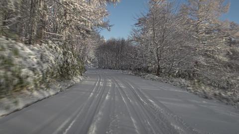Winter snow road driving - Sunny Ogawara Pass in Nagano Japan Footage