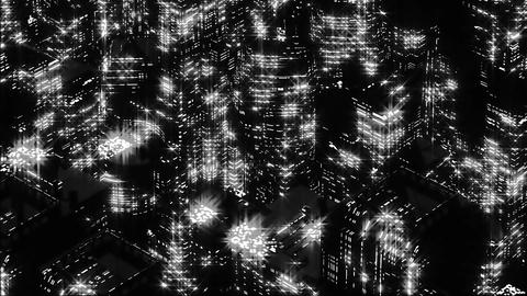 Abstract Night scene of black-white night city. Loopable Animation