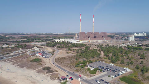 Aerial view of Coal-Fired Power Plant Footage