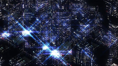 Abstract Night scene of blue night city. Loopable Animation
