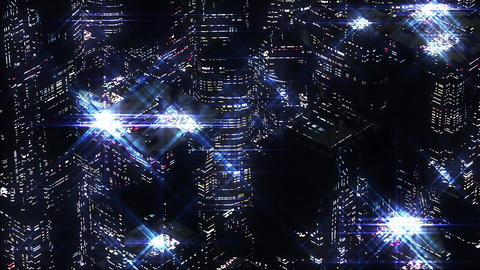 Abstract Night scene of blue night city. Loopable, Stock Animation