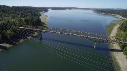 Aerial view of the Agate Pass Bridge - Seattle, Bainbridge Island, USA Footage
