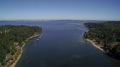 Flight over Eagle Harbor Marina, in foreground Seattle - Bainbridge Island, USA Footage