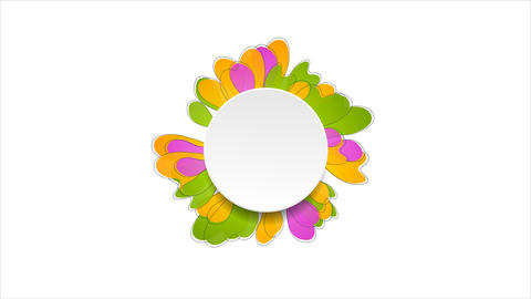 Spring colorful flower and blank circle video animation Animation