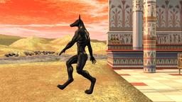 Anubis goes, Egypt, temple, animation Animation