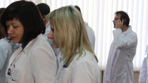 The End Of Medical Symposeum(the Doctors Crowd On Exit) stock footage
