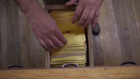 Index Cards Card Catalog Drawer Overhead View Footage