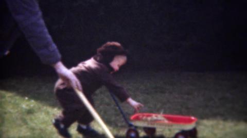 1947: Boy pulling wagon helping dad rake autumn tree leaves Footage