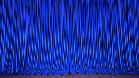 Theater stage blue curtain 3D animation with alpha matte Animación