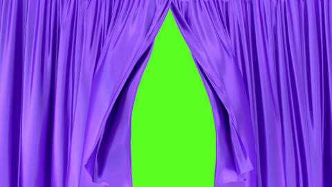 Purple window curtains 3D animation with alpha matte Animation
