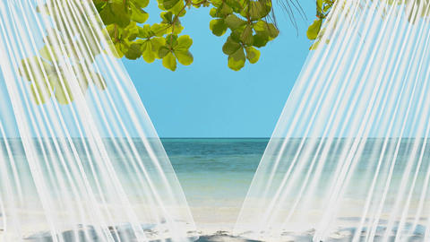 1080p of the sheer curtain revealing a peaceful tropical beach Animation