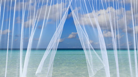 White sheer curtains against the tropical sea scenery Animation