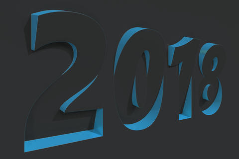 2018 number bas-relief on black surface with blue sides Foto