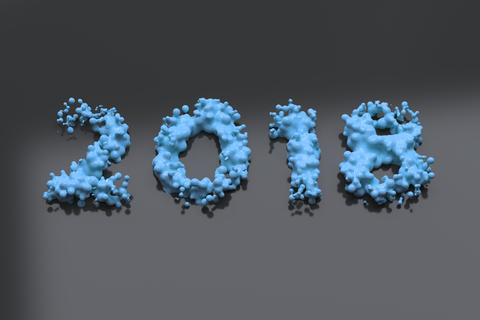 Liquid blue 2018 number with drops on black background Foto