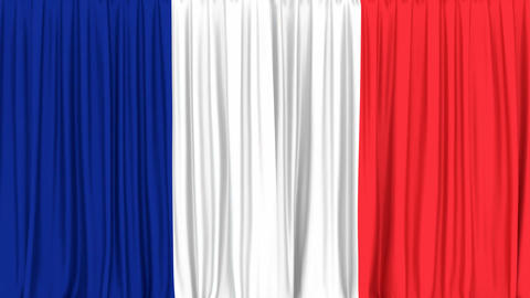 Realistic 3D animation of the National flag of France as the curtain Animación