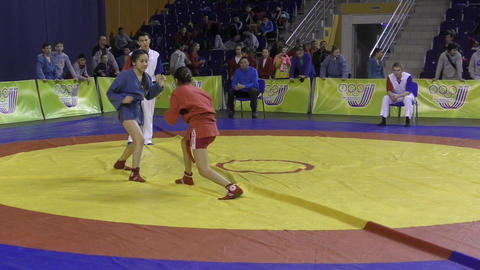 Orenburg, Russia - 13 March 2016: Girls compete in Sambo Live Action