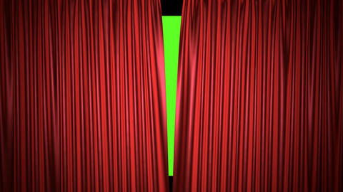Movie theater red curtain opening realistic 3D animation Animación