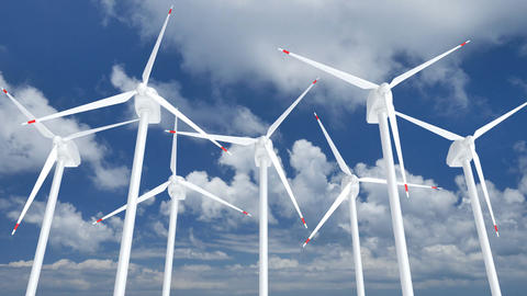 3D animation of the wind farm against blue cloudy sky Animation