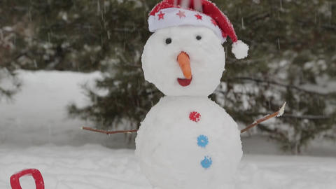 The cheerful snowman standing in the snow 4 ビデオ