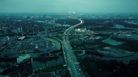 Aerial shot of big city highways intersection. Huge traffic jams near shopping Footage