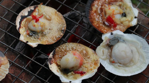 seafood Shell grilling outdoor Footage