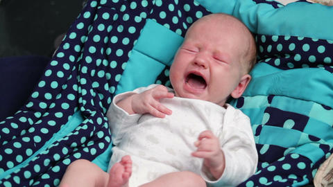 A newborn baby crying Footage