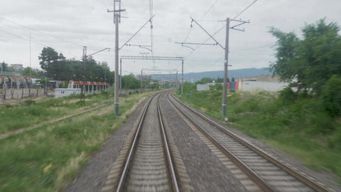 Railroad view from the window of the last railway carriage Footage