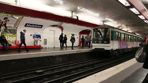 PARIS, FRANCE - March 22, 2016: Train in subway, Metro in Paris, France Footage