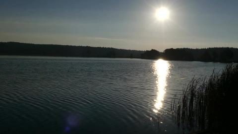Beautiful sunrise over lake in 4k Footage
