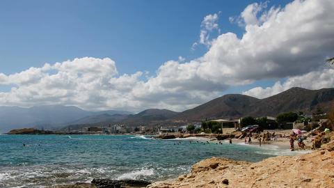 Greece. Hersonissos. Crete Island. Time-lapse over the beach Footage
