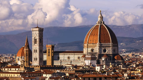 Beautiful views of Florence and Cathedral Santa Maria del Fiore, evening Footage