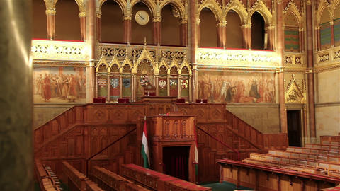 BUDAPEST, HUNGARY - MAY 8, 2016: Interior view of Parliament Building GIF
