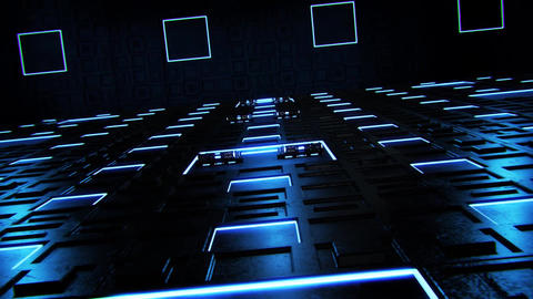 3D Blue Sci-Fi Tech Room Environment Intro Logo Background Animation