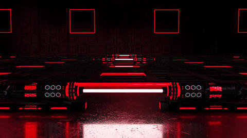 3D Red Sci-Fi Tech Room Environment Intro Logo Background Animation