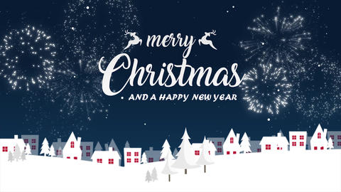 Merry Christmas And Happy New Year Wish Falling Snow With Firework Animation